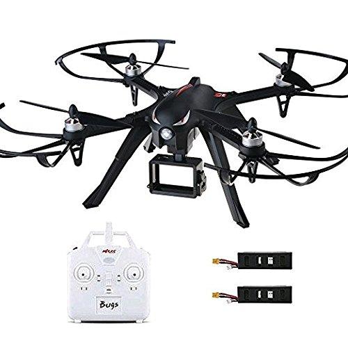 MJX B3 Bugs Profi Drohne mit Actionkamera-Halterung für Gopro Bürstlose Motoren 6A Elektrizitätsregulierung 2.4G 4CH 6-Achsen Gyro 3D Rollen Drone,mit guter Garantie, 2 Akkus, Deutsche Anleitung