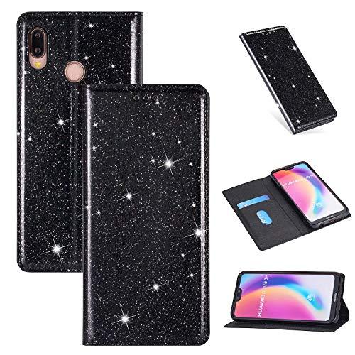 Nadoli Glitzer Wallet Hülle für Huawei P20 Lite,Bling Schutzhülle Leder Flip Case Lederhülle mit Kartenfach Standfunktion Klappbar Magnetisch Etui für Huawei P20 Lite