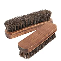 """Yooap 6.7"""" Horsehair Shoe Shine Brush, Soft Genuine Horse Hair Bristles Polishing Brush for Boots, Shoes and Other Leather Care, Comfortable Grip, Anti Slip, 2 Pack"""