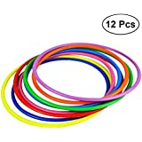 STOBOK 12pcs Kids Toss Rings Plastic Ring Toss Game For Speed And Agility Training Garden Outdoor Games 12cm (Random Color)