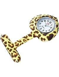 """Bellos Krankenschwester Uhr """"Leopard"""" Weiß Beige Braun Ansteckuhr mit Nadel Herz Damenuhr"""