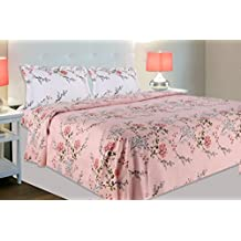 haus & kinder Victorian Summer Dream, 100% Cotton Double Bedsheet with 2 Pillow Covers, 186 TC (Pink: White Pillows)