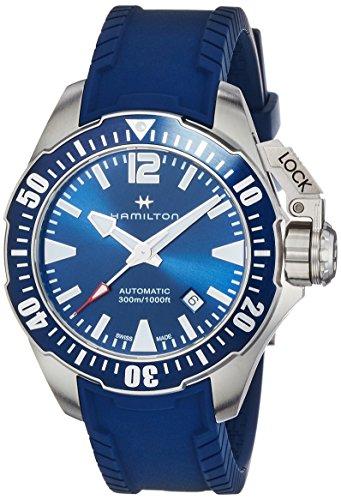 HAMILTON MEN'S 42MM BLUE RUBBER BAND STEEL CASE AUTOMATIC WATCH H77705345