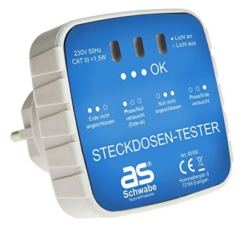 as - Schwabe Anschluss-Prüfstecker - Diagnose-Stecker mit Kontrollleuchten-Anzeige - Kontrolle von korrekten Verdrahtungen in Schutzkontaktsteckdosen 230 V - Stromkreis-Prüfgerät - Weiß I 45100 -