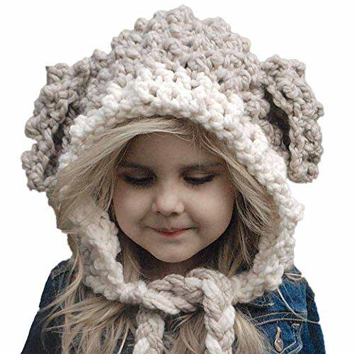 Mädchen Strickmützen Winter Wolle gestrickte handgemachte Hüte Baby Mädchen Tücher Kapuzenhaube Beanie Caps Baumwollemütze Woll Haube Mütze Mädchen Mütze Schal Set Felicove -