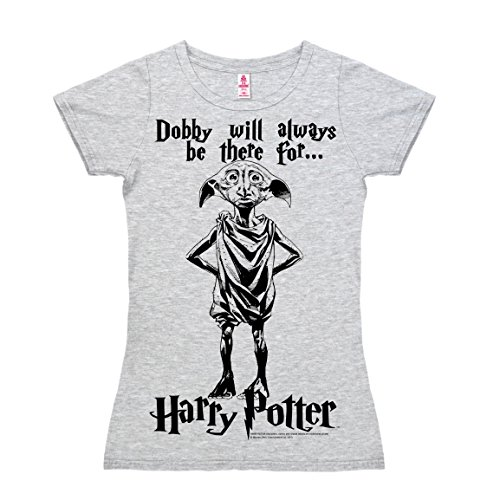 (Logoshirt Harry Potter - Hauselfe - Dobby Will Always Be T-Shirt Damen - grau-meliert - Lizenziertes Originaldesign, Größe S)