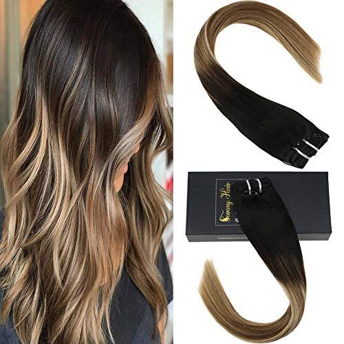 Sunny 20inch extension capelli veri clip & umani capelli balayage nero naturali a marrone con biondi 1b/6/24# 7pcs dip dyed clip in extension capelli 120g