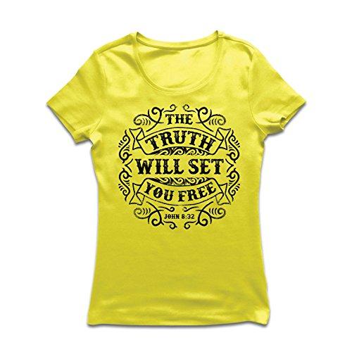 (Frauen T-Shirt Die Wahrheit Wird Dich befreien - Aktion ist der Beweis des Glaubens - christliche Geschenkideen - Ostern - Auferstehung - religiöse Kleidung (Medium Gelb Mehrfarben))