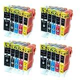 Cartouches Encre avec puce Compatible CANON 4 Packs = 20 PGI520BK + CLI521BK + CLI521C + CLI521M + CLI521Y pour imprimantes Canon Pixma IP3600 / Pixma IP4600 / IP4700 / Pixma MP980 / MP630 / MP620 / MP540 / MP560 / MP550 / MP640 / MP980 / MP990 - (Silvertrade Â)