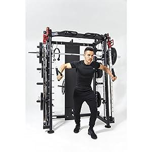 GORILLA SPORTS® Multifunction Smith Machine mit Klimmzugstange, Langhantel und Gewichtsschlitten – Kraftstation Schwarz bis 200 kg belastbar