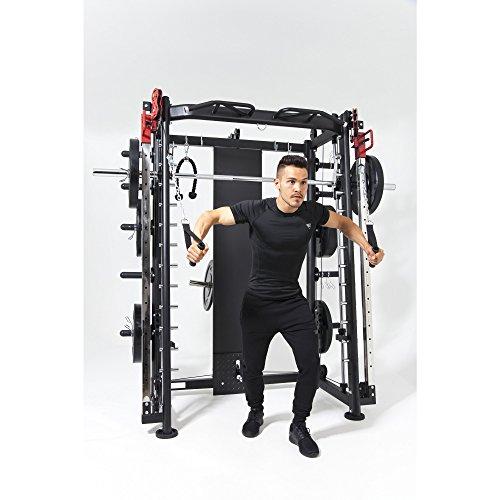 GORILLA SPORTS® Multifunction Smith Machine mit Klimmzugstange, Langhantel und Gewichtsschlitten - Kraftstation Schwarz bis 200 kg belastbar