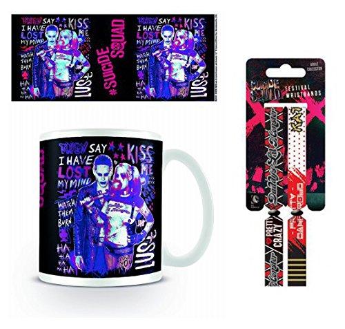 Set: Escuadrón Suicida, Harley Quinn Y Joker Taza Foto (9x8 cm) Y 1 Escuadrón Suicida, Pulsera (10x2 cm)