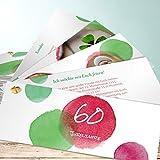 Einladungskarten zum 60 Geburtstag, Farbtupfer 60 200 Karten, Kartenfächer 210x80 inkl. weiße Umschläge, Rot