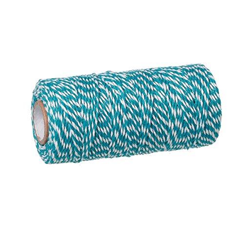 92m Schnur aus Baumwolle, 1,5mm dick, blau – weiß gestreift