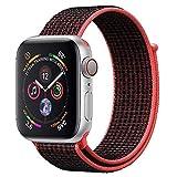 ANBEY für Apple Watch Armband 38mm 40mm 42mm 44mm, Geeignet für iWatch Apple Watch Serie 4, Serie 3, Serie 2, Serie 1, Nylon Sportschlaufenband Ersatzarmband Black red 38/40mm
