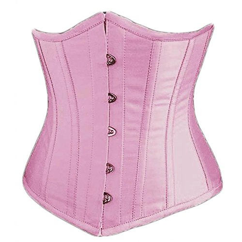 SZIVYSHI Damen Unterbrust Satin Lace Up Waist Cincher Corsage Top Shaper Bustier Rosa XL (Satin Top Bustier)
