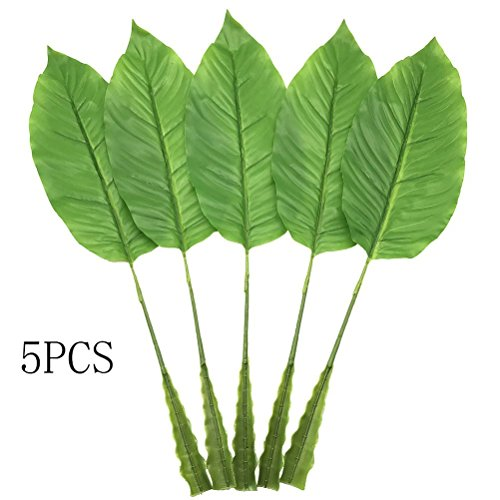 on Tropical Leaves,5 Pcs Artificial Fake Plant Leaves for Hawaiian Luau Summer Party BBQ Wedding Home Decorations (Light Green) ()