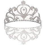 JZK Tiara diadema con pettine per bambina e donna, tiara sposa tiara principessa corona principessa cerchietto sposa copricapo capelli (A)