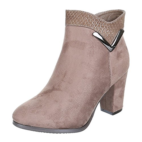 ZH659 chaussures aNKLE bOOTS bottines femme Marron - Sable