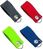 Set Schlüsselanhänger Schlüsselband mit Schlüsselring und bunten Anhängern aus Filz - Anhänger (Farbig 4er)