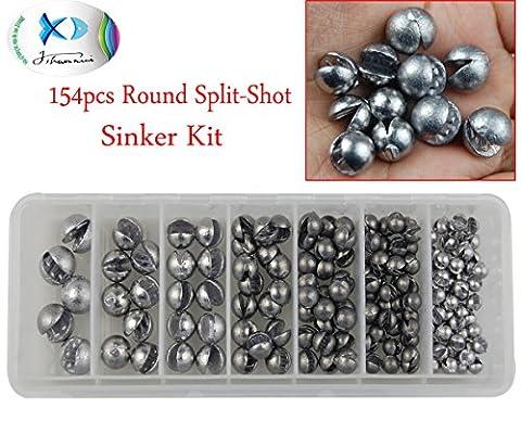 jshanmei 154pcs/Box sortiert Größe Angeln Sinker Gewichte die runde Form abnehmbarer Sinkers Wurfgewicht Sinkers kit-for Köder Rigs, Rock Kunstköder