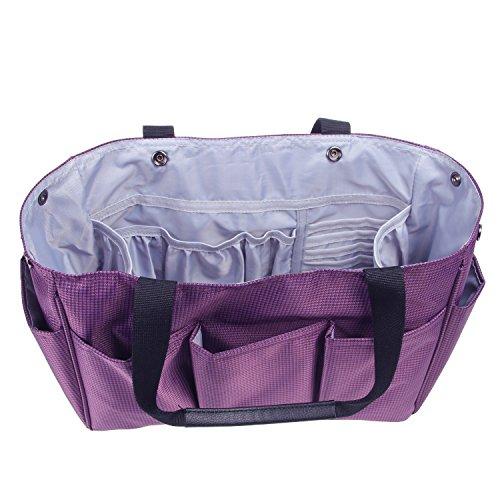 Teamoy Multifunktion Tasche Wickeltasche Organiser Tasche mit mehreren Taschen und Buggybutler, Schwarz Lila