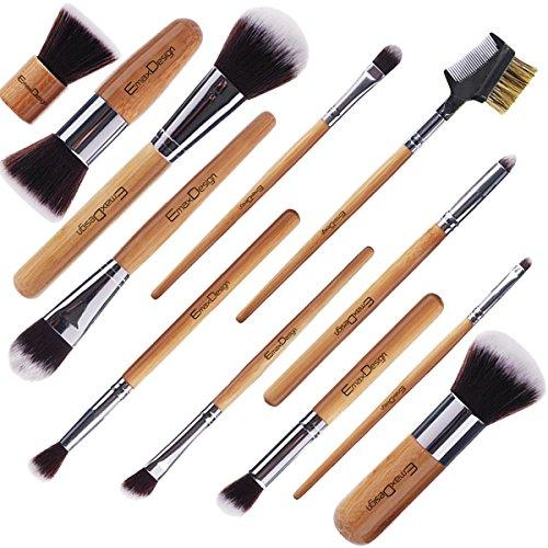 EmaxDesign Make up Brushes 12pcs Bamboo Brush Set & 1pcs Beauty Sponge Blender