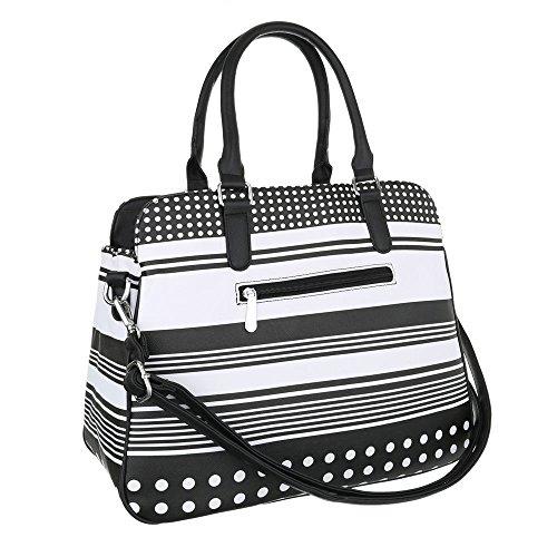 Damen Shopper Damen Schultertasche Tragetasche Handtasche Schwarz Weiß Schwarz