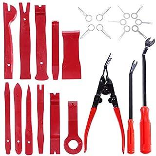 Faburo 24 Stücke Demontage Werkzeuge Auto Zierleistenkeile Set, Lösewerkzeug für Entfernung Autotür Türverkleidung und Platten, Rot,Starke Nylon Hohe Qualität