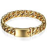 JewelryWe Schmuck Herren Kette Armband, Edelstahl Hochglanz Poliert Panzerkette Armkette mit kostenlos Gravur, Gold