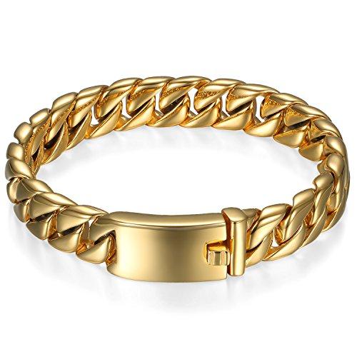 Oidea Braccialetto Uomo Bracciale catena acciaio inox lucidatura oro