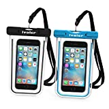 "[IPX8 Certificato] Custodia Impermeabile,[2 Pack] iVoler Custodia Cellulare Impermeabile Universale 6.2 Pollici Waterproof Cover Case Impermeabile per iPhone X / 8 / 8 Plus / 7 / 6s / 6, 7 Plus / 6s Plus / 6 Plus, SE 5S 5C, Samsung Galaxy S9/S9 Plus/S8/S8+/S7/S7 Edge/S6/S6 Edge/Edge+, Note 5/4/3/Edge, Huawei P20/P20 Lite/P10/P10 lite, Nexus, ASUS, LG, HTC, Sony Xperia, Motorola ed Smartphone Uguale o Inferiore a 6.2"",ecc - Garanzia a vita (Nero+Blu)"
