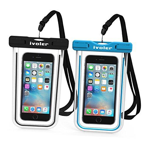 [Certifiée IPX8] Pochette Téléphone Étanche, [Lot de 2] iVoler Housse Coque Étanche Universel (Smartphones Jusqu'à 6.2 Pouces) Waterproof Case Bag Etui Safe Water Pouch avec Transparent Touch Sensible et Séchage Rapide pour iPhone X, 8, 8 Plus, 7, 7 Plus,6 / 6s Plus, SE 5S 5C, Samsung Galaxy S9/S9 Plus/S8/S8+/S7/S7 Edge, Huawei P20/P20 Lite, Wiko, LG, Sony, Motorola, et d'autres appareils de taille égale ou inférieure à 6.2''. [Garantie à Vie] (Nior+Bleu)