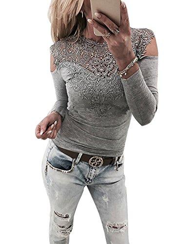 Minetom Damen Langarmshirt Sexy Langarm Spitze Hemd Shirts Schulterfrei Spitzenbluse Slim Fit Sweatshirt Oberteil Bluse Tops Grau DE 34