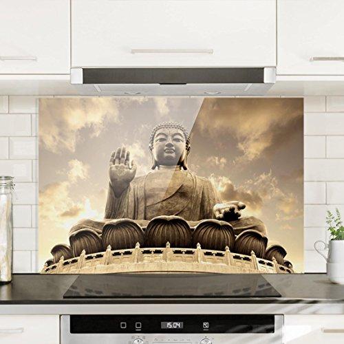 Bilderwelten Spritzschutz Glas - Großer Buddha Sepia - Quer 2:3 Wandbild Küchenrückwand Küchenspiegel Küchenspritzschutz Glasrückwand Küche Spritzschutz Herd, Größe HxB: 59cm x 90cm