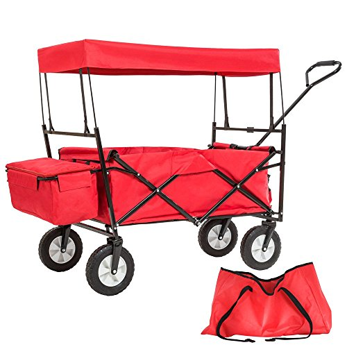 TecTake Chariot pliable avec toit en bâche charrette de transport à tirer de jardin | Rouge