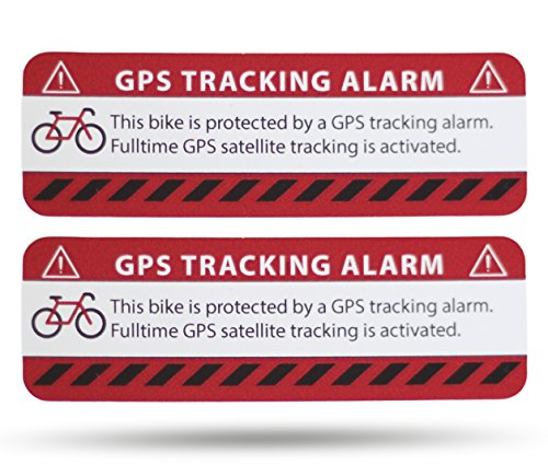 SECYOURITY GPS Alarm Bike Stickers - 2 Units Netbote24 - Warning Stickers - Premium Quality - 75 mm x 25 mm - Outdoor Application - Prevention Anti-theft bicycle