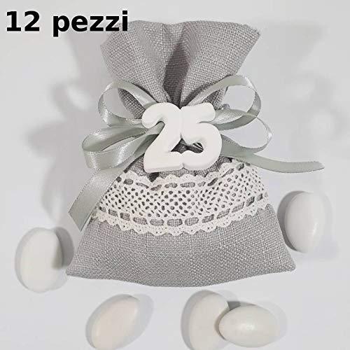 Sindy bomboniere 12 sacchettino bomboniera per 25esimo venticinquesimo nozze d'argento anniversario matrimonio sposi argentato gessetto (sacchettino con confetti)