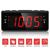 Digital AM FM Radiowecker, Digitaler Wecker mit AM/ FM-Radio | Snooze funktion | Nachtlicht-Funktion | Sleep-Timer | Backup-Batterie | 2- Stufen Helligkeit
