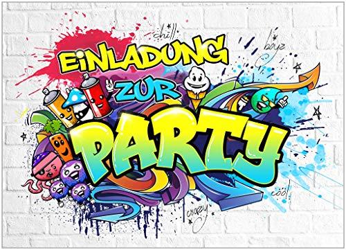 10x EINLADUNGSKARTEN für PARTY und KINDERGEBURTSTAG - die Karten im frech bunten GRAFFITI Design sind die perfekte EINLADUNG für Jungen Mädchen Kinder zum GEBURTSTAG Einschulung und KINDERPARTY