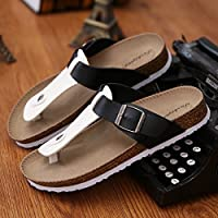 Las parejas masculinas zapatillas de corcho de verano tiene un pasador de pinza arena antideslizante cool zapatillas sandalias tendencia casual que el arrastre y la hembra de 37 ,A-11 en blanco y negro Fankou
