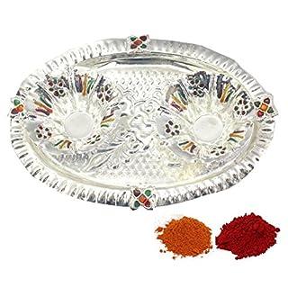 Amba Handicraft Indische Traditionelle Deko Pooja Thali, schöne Lakshmi Festival ethnische Geschenk für Sie/Kankavati / Diwali/indisches Kunsthandwerk/Zuhause / Tempel/Büro / Hochzeit Geschenk GS11