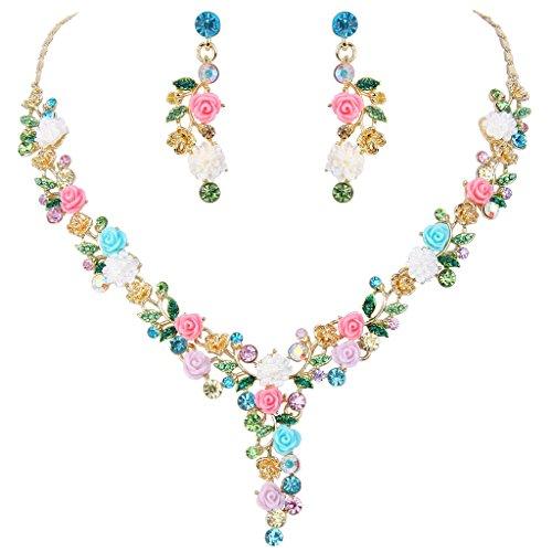 EVER FAITH Gold-tone austriaco sacco di cristallo Camelie nuziali della collana Orecchini set multicolore