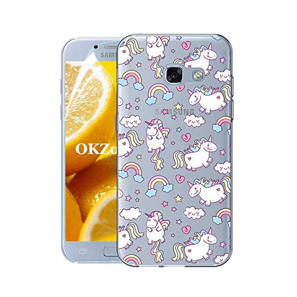 OKZone Galaxy A520 / A5 2017 Case with Screen Protector, Clear Cute Pattern Design Soft & Flexible TPU Ultra-Thin Shockproof Women Cover Cases for Samsung Galaxy A520 / A5 2017 (Unicorn) OKZone Compatible with Samsung Galaxy A520 / A5 2017. Package Includes: 1 x Phone Case + 1 x HD Screen Protector. Ultra-Clear: Slim, transparent protective bumper case body reveals and enhances the original color of the Samsung Galaxy A520 / A5 2017. Made of high quality soft TPU which is safe and protective, light weight which fits your phone perfectly. 1
