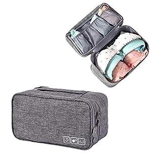 Aolvo BH-Organizer Reisetasche, Oxford-Stoff, Unterwäsche, Organizer, wasserdicht, persönliche Kleidung, Handtuch, Reisen, Make-up-Tasche für Damen, Mädchen, Mann grau