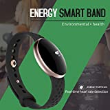 ZAK168 Wasserdicht IP67 Fitness Tracker, Bluetooth, Smart Armband, Ultra-Sensitive Kapazitive Touch Super Helle Display, Luftfahrt-Aluminium Armband Smart Watch Android iPhone, Schwarz, Free Size