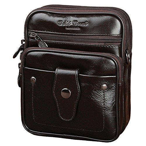 Genda 2Archer Mini Leder Crossbody Tasche Tägliche Kleine Umhängetasche (Braun) Braun