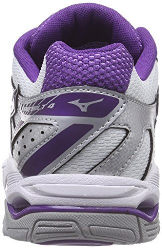 Mizuno Wave Bolt 4, Chaussures Multisport Indoor femme Multicolore - Mehrfarbig (White/Pansy/Silver 68)