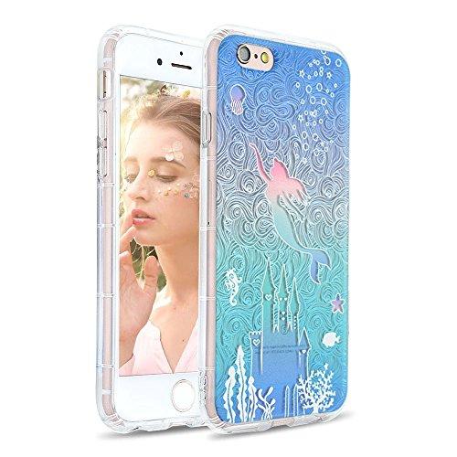 Hülle, iPhone 6S Plus Hülle, Transparent Weiche 3D-Relief-Lackierungstechnologie Silikon Hülle TPU Bumper Case Kratzschutz Schutzhülle für iPhone 6 Plus/6S Plus-Meerjungfrau 4 ()