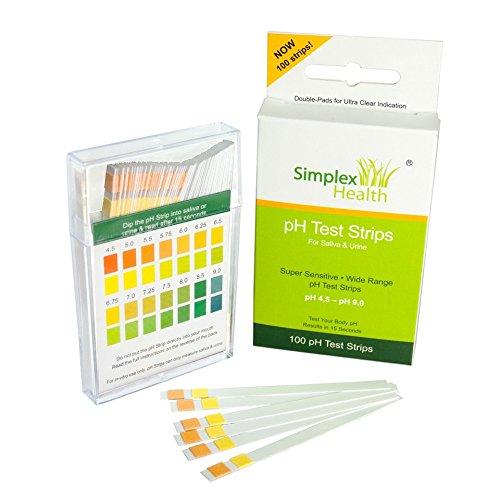SimplexHealth pH Teststreifen (100 Stück) Urin und Speichel. Checken Sie Ihren Säure-Basen-Haushalt über den Speichel oder den Urin (mit kostenloser Säure und Basen Lebensmitteltabelle als pdf) (Base Kurz)